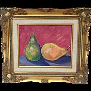 "Pear Still Life Original Oil Painting, Artist Sarah Kadlic, 8x10"" in Gilt Wood Frame"