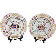 Pair Antique Samson Imperial Hand Painted Armorial Plates, Paris, 1900s