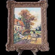 Wonderful Vintage 1900 Dutch Original Oil Painting Gilt Wood Frame for Tabletop