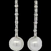 Stunning Impressive 18k Gold South Sea Cultured Pearl GH/VS Diamond Drop Dangle Earrings