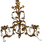 "Gilt French Metal Tole Candle Wall Sconce with Crystal Prisms, 1960s, 17""x17"""
