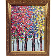 """SOLD Abstract Trees Autumn Landscape Original Oil Painting by Artist Sarah Kadlic, Sized 9"""""""