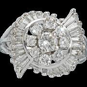 Striking 1.60 cttw Diamond Cluster Dinner Cocktail Ring set in 14k Karat White Gold