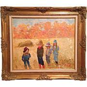 "Warik Wheatley Original Oil Painting Children ""Which Way Now"" 24x20 Milton Bradley /"