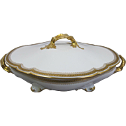 Exquisite Limoges Covered Vegetable Serving Bowl or Tureen by William Guerin.