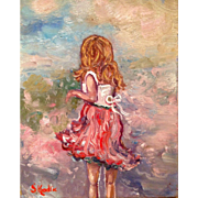 Young Girl Playing in the Grass Original Oil Painting by Artist Sarah Kadlic 8x10""