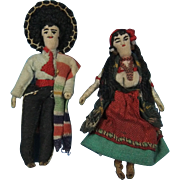 SOLD Early Cloth Mexican Doll Pair