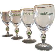 SALE 4 Vintage Irish Coffee Stemmed Glasses with Clover