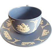 """1953"" Wedgwood Lavender or Light Blue Jasperware  Cup and Saucer"