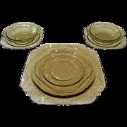 SOLD Federal Madrid 6 Piece Set Amber Depression Glass