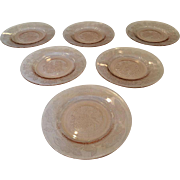 SOLD 6 Pink Dogwood or Apple Blossom Bread Plates Depression Glass