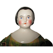 17'' Antique China Doll With Gold Snood And Brush Strokes Around Face