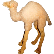 """SOLD 11"""" Tall Stiff Camel With Glass Eyes And Velveteen Face & Legs Ca. 1950's"""