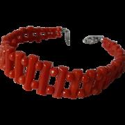 Art Deco 1920's Red Coral Bracelet 14k White Gold Clasp