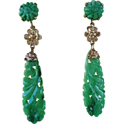 Superb Rare 1920's Art Deco Chinese Apple Green Jadeite Hand Carved Pierced Earrings