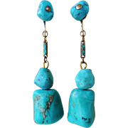 Vintage Chinese Turquoise Blue Enamel Dangle Earrings Gold Vermeil