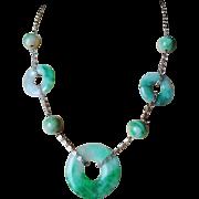 Chinese 1915-1920 Art Deco Apple Green Jadeite Gold Vermeil Necklace