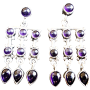 Vintage Amethyst Sterling Silver Earrings
