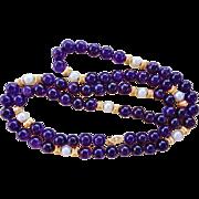 "Rare Vintage 14k Deep Purple Amethyst Cultured Pearl Necklace 34"" Length"
