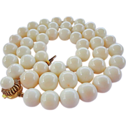 Italian 14K White Angel Skin Coral 11mm Beads Necklace 101.2 Grams