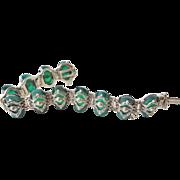Rare 1920's  Art Deco Chrysoprase Marcasite 925 Sterling Silver Bracelet