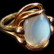 Rare Vintage Large 14k Transparent Moonstone Cabochon Ring