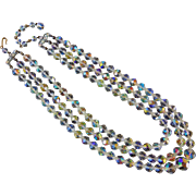 Art Deco Vintage Aurora Borealis Crystal 3 Strand Necklace