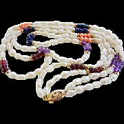 Vintage 14k Baroque Pearls, Coral, Amethyst, Lapis Lazuli, Garnet Gems Two Strand Necklace