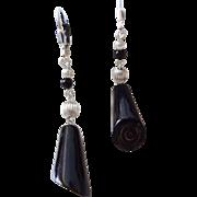 Vintage Black Coral Earrings Sterling Silver Pierced Ears