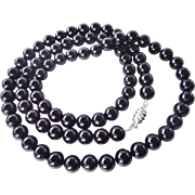 "Long Black Onyx Necklace 36"" Length 10 mm Bead Size Sterling Silver Clasp"