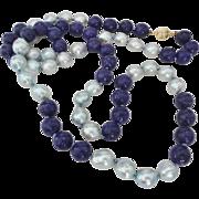 """Vintage Large Blue Baroque Pearls & Lapis Lazuli Necklace 31"""" Length Gold Vermeil Clasp"""