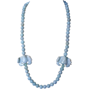 Vintage Chinese Blue Jadeite Necklace Gold Vermeil Filigree Clasp
