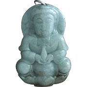 Vintage Chinese  Green Jadeite Pendant Sterling Silver Bail
