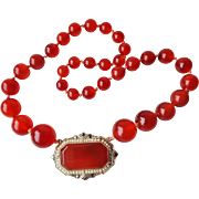 Superb 1920's Art Deco German Carnelian Marcasite Seed Pearls Choker Necklace Sterling Silver
