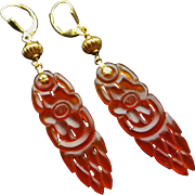 Vintage Chinese 18k Hand Carved Carnelian Earrings Gold Vermeil Leverbacks for Pierced Ears