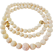 "Vintage 1960's Angel Skin Coral Necklace Carved Flower Beads 18.9 Grams 17 "" Length"