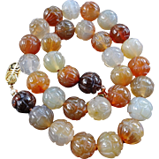 Vintage Chinese  Carved Carnelian Necklace Large 12mm Beads Gold Vermeil Clasp