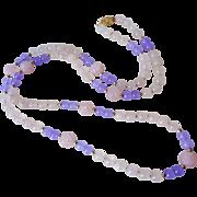 Vintage Chinese Hand Carved Rose Quartz Lavender Jadeite Necklace Gold Vermeil Filigree Clasp