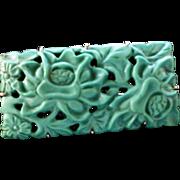 Rare Vintage 9 kt Carved Pierced Floral Design Turquoise Brooch