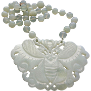 Chinese Vintage Large Translucent Celadon Jade Butterfly Pendant Necklace With Hand Carved ...