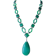 Rare Magnificent Art Deco  Translucent Carved Links Chrysoprase Necklace