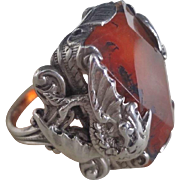 Vintage Chinese Dragon Red Agate Sterling Silver Ring