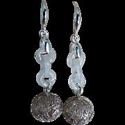 Chinese Devil's Work White Jadeite Silver Filigree Earrings Pierced Ears