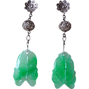 Vintage Chinese Apple Green White Translucent Jadeite Two Fish Earrings Sterling Silver ...