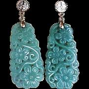 Vintage Chinese 14k Large Translucent  Apple Green Jadeite Earrings