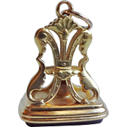 1800's Georgian 18k Gold Red Carnelian Gem Fob