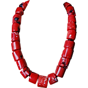 """Massive Vintage  17mm Red White Coral Choker Necklace 19.5"""" Length 212.6 grams"""