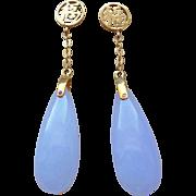 Vintage Chinese 14k  Lavender Jadeite Earrings Pierced Ears