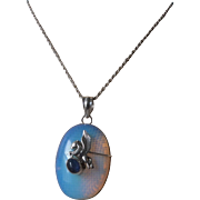 Vintage Rainbow Moonstone Sterling Silver Pegasus Pendant