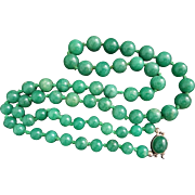 "Superb Italian Vintage Emerald Green Aventurine Necklace Cabochon Clasp 28.5"" Long"
